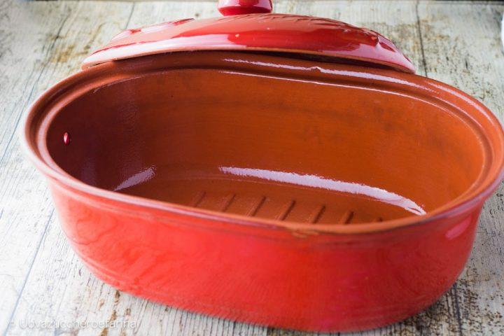 primo utilizzo tegami terracotta interno scanalato
