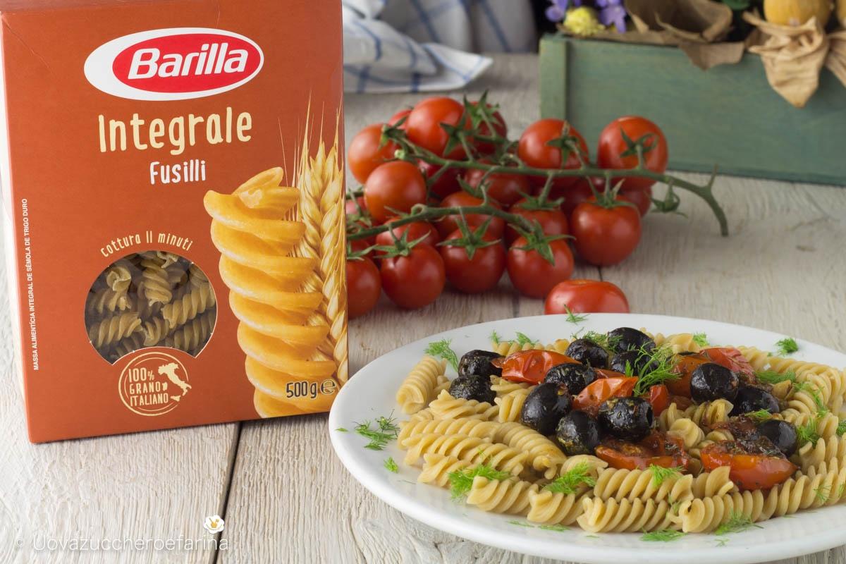 ricetta fusilli integrali Barilla pomodorini olive ricetta mediterranea