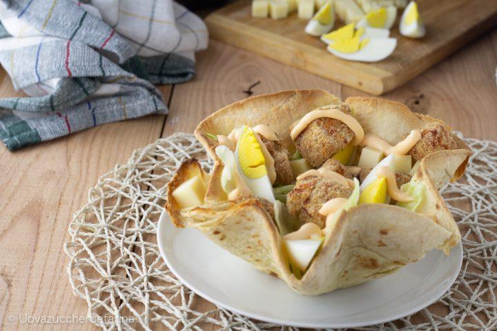 ricetta Cestini piadina insalata pollo salsa cheddar Develey
