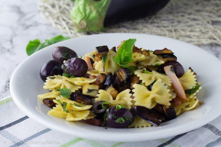 pasta fredda melanzane prosciutto cotto olive nere