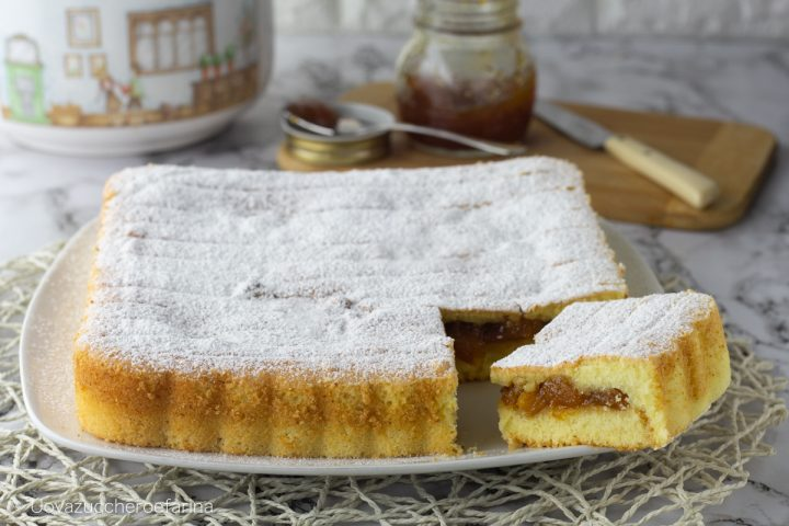 torta versata confettura pesche ricetta facile