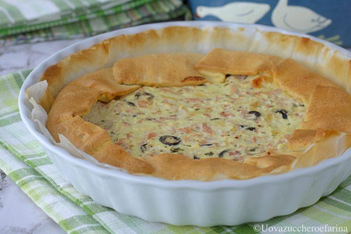 torta salata prosciutto cotto olive intera