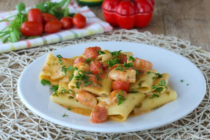 paccheri gamberi pomodorini ricetta