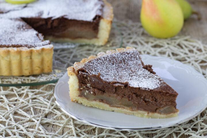 crostata pere cioccolato fetta