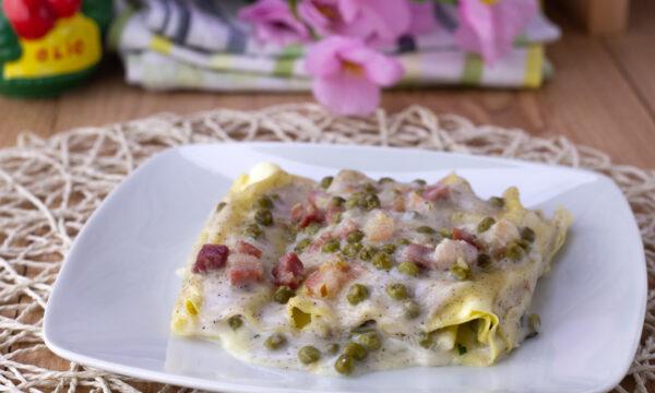 Cannelloni con piselli pancetta e besciamella integrale
