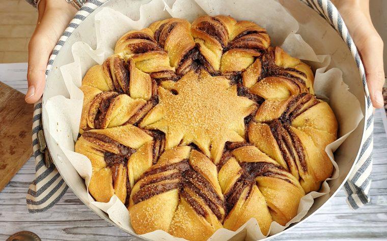 Stella di pan brioche di Natale alla nutella
