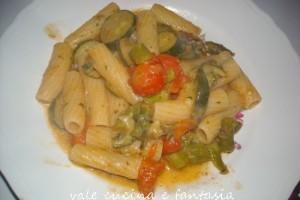 rigatoni con  asparagi e zucchine