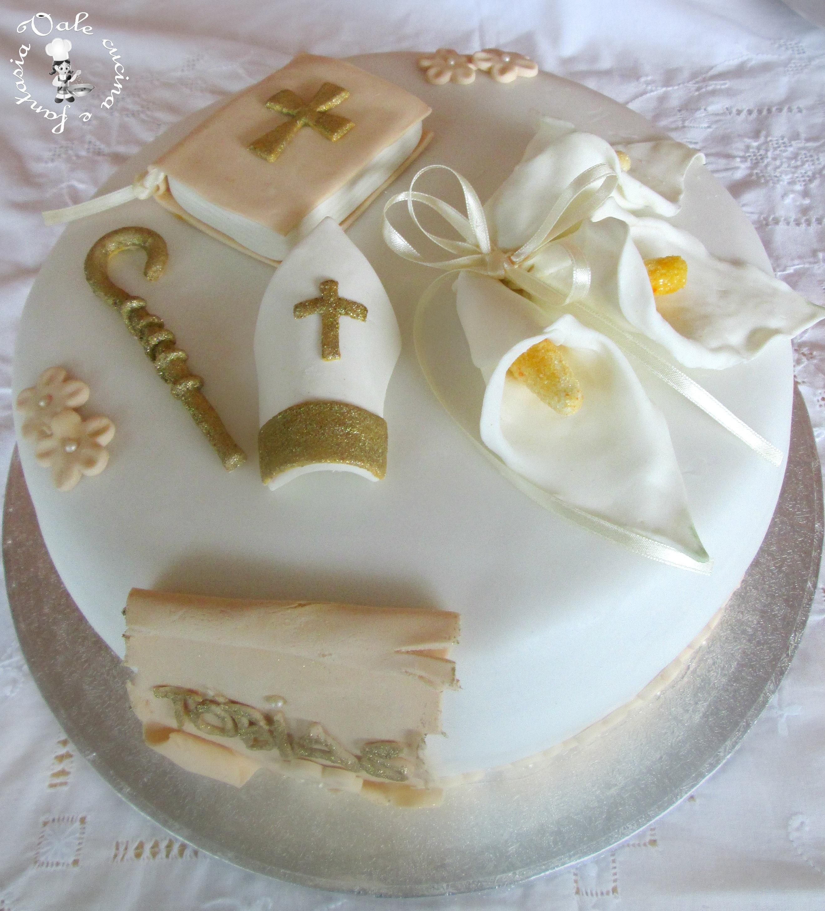 spesso Torta decorata in pasta di zucchero per cresima CH93