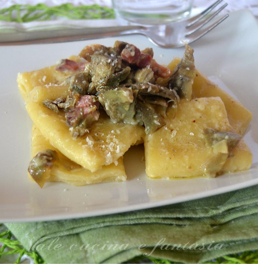 Paccheri con carciofi e pancetta ricetta primo piatto saporito for Ricette con carciofi
