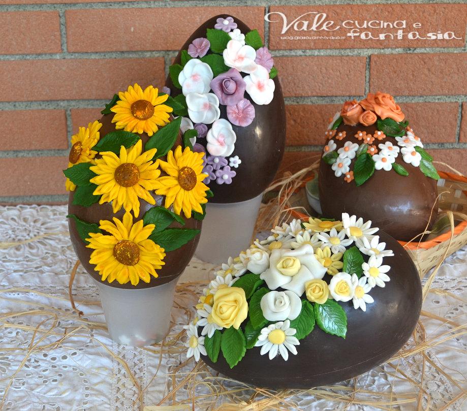 Uova di pasqua decorate con fiori in pasta di zucchero - Uova di pasqua decorate per bambini ...