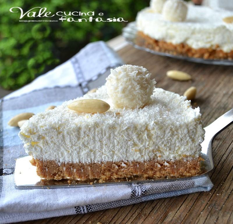 Eccezionale Cheesecake Raffaello ricetta dolce senza cottura VZ19