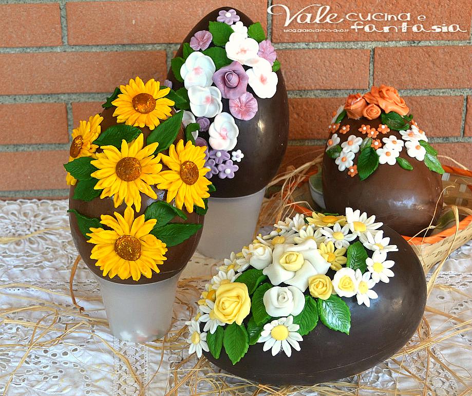 Uova di pasqua decorate con fiori in pasta di zucchero - Uova di pasqua decorate ...