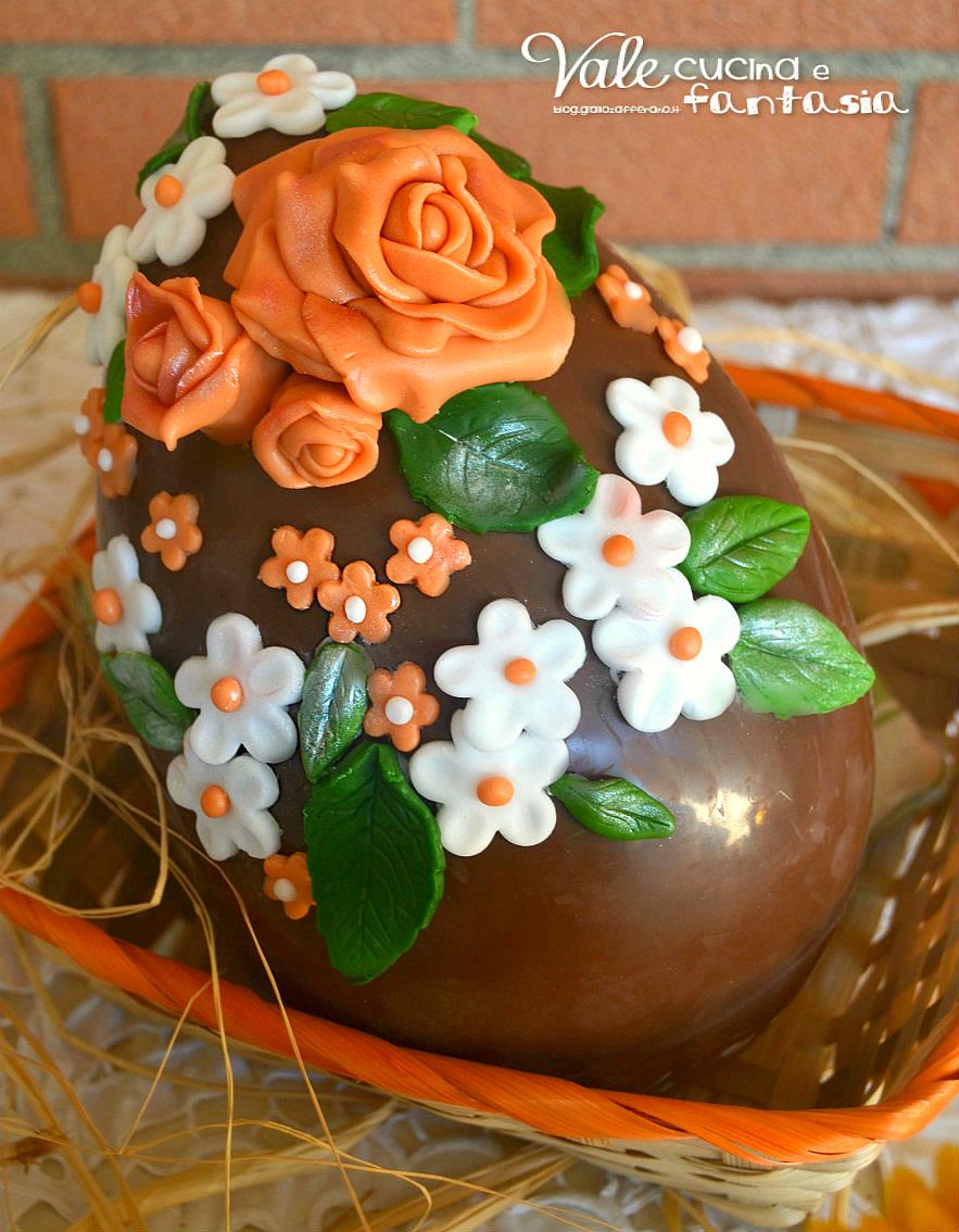 Uova di pasqua decorate con fiori in pasta di zucchero - Uova di pasqua decorati a mano ...