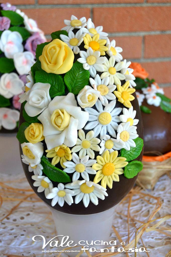 Uova di pasqua decorate con fiori in pasta di zucchero - Uova di pasqua decorazioni ...