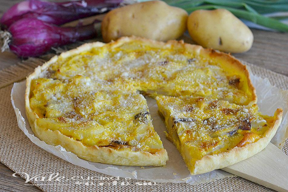 Torta salata con patate e cipolle ricetta veloce for Torte salate facili