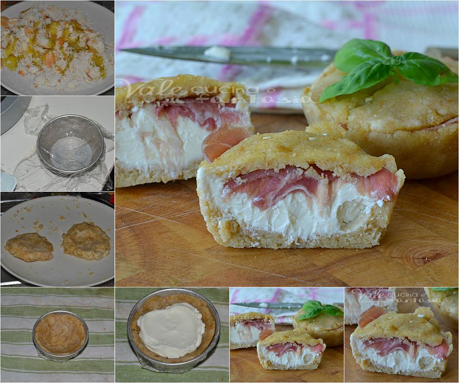 Tortine salate con formaggio e prosciutto senza cottura