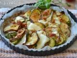 Melanzane e zucchine al forno con pancetta e formaggio,