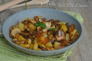 Funghi e patate in padella ricetta contorno facile