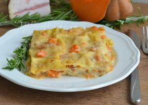 Lasagne con zucca e guanciale primo piatto