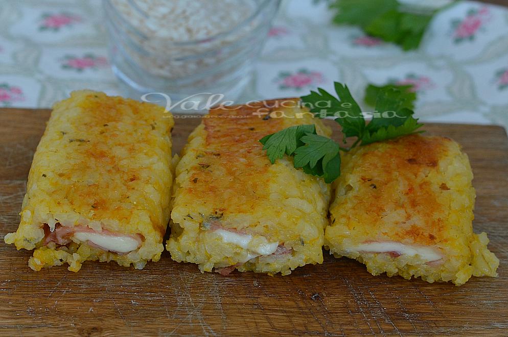 Rotolini di riso alla zucca con prosciutto cotto e formaggio