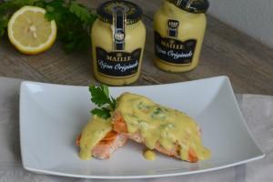 Tranci di salmone con vinaigrette di senape e limone