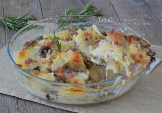 Tortino di patate con funghi e pancetta