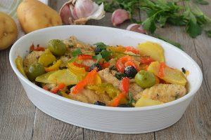 Filetti di Cernia gratinati con peperoni olive e patate