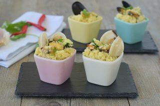 Coppette di Cous Cous freddo con cozze vongole e zucchine