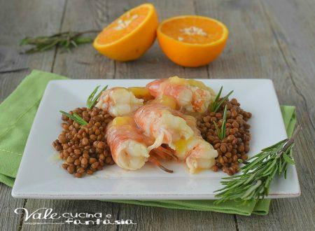 Gamberoni all arancia con lenticchie