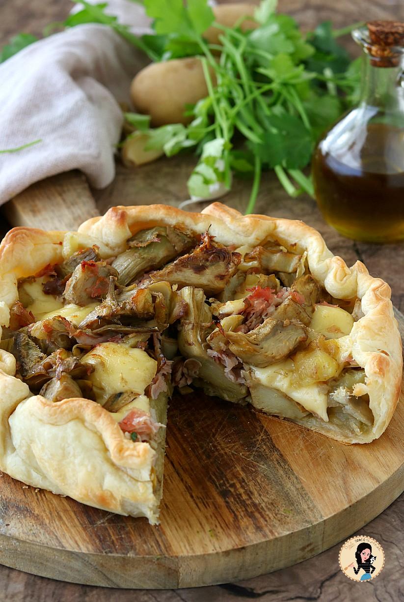 TORTA SALATA CARCIOFI E PATATE con prosciutto cotto e  formaggio