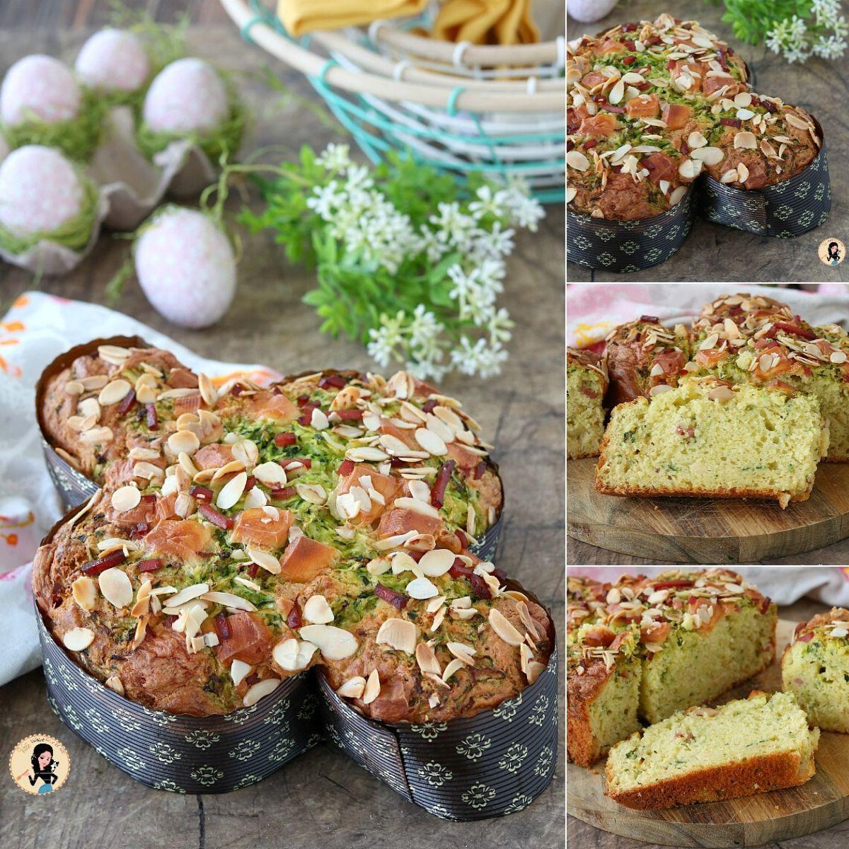Colomba salata veloce con zucchine, prosciutto e provola