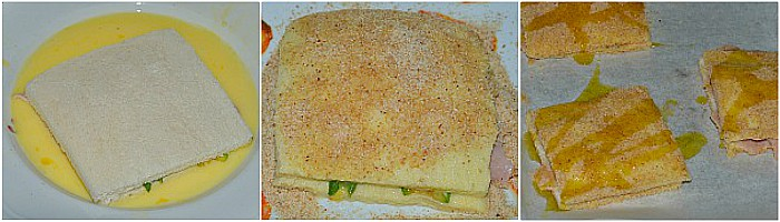 Mozzarella in carrozza al forno con prosciutto e zucchine grigliate