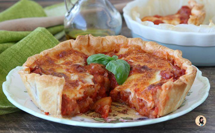 TORTA CON MELANZANE E MOZZARELLA con pasta sfoglia