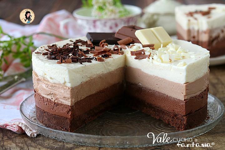 Cheesecake ai 3 cioccolati ricetta senza cottura