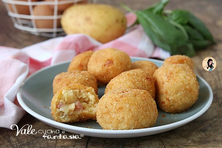 polpette di patate e prosciutto con formaggio