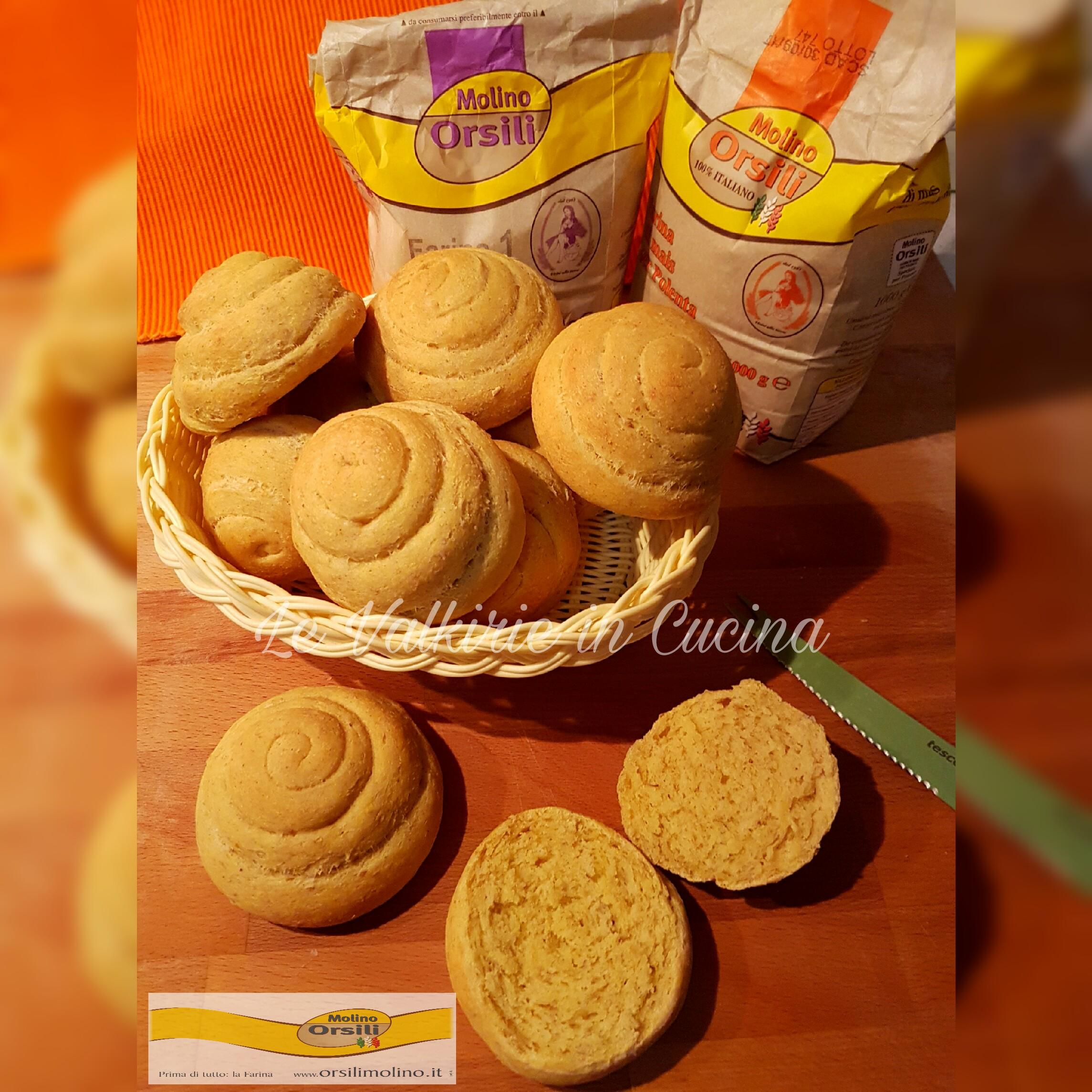 Girelle di pane con farina di mais fioretto