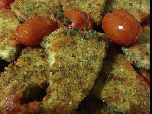 Pesce spada gratinato con sugo di pomodorini