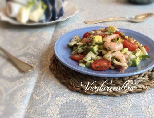 Insalata di Mazzancolle con Avocado, Finocchi e Datterini