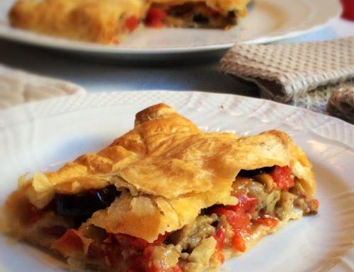 Fagotto di Pasta Sfoglia con Melanzane Pomodori e Mozzarella