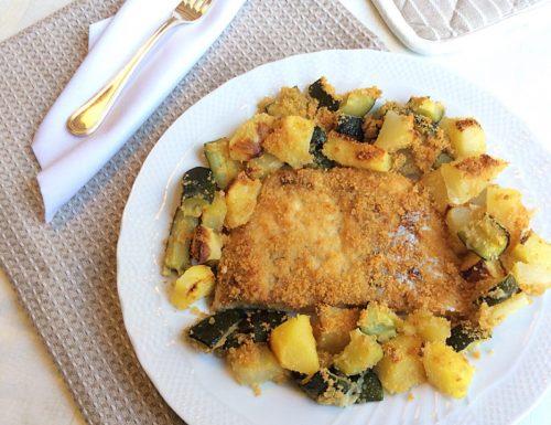 Pesce Persico Gratinato con Patate e Zucchine