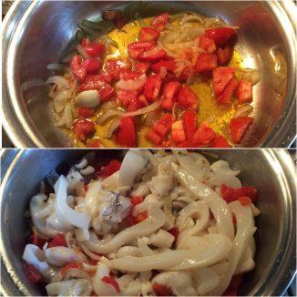 Seppie con spinaci e pomodori