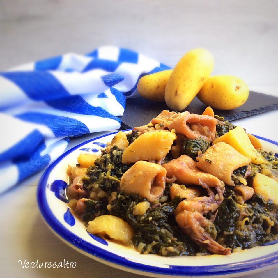 Calamari in Pentola con patate e spinaci