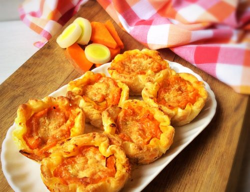 Cestini di Pasta Sfoglia con Zucca, Porri e Pecorino
