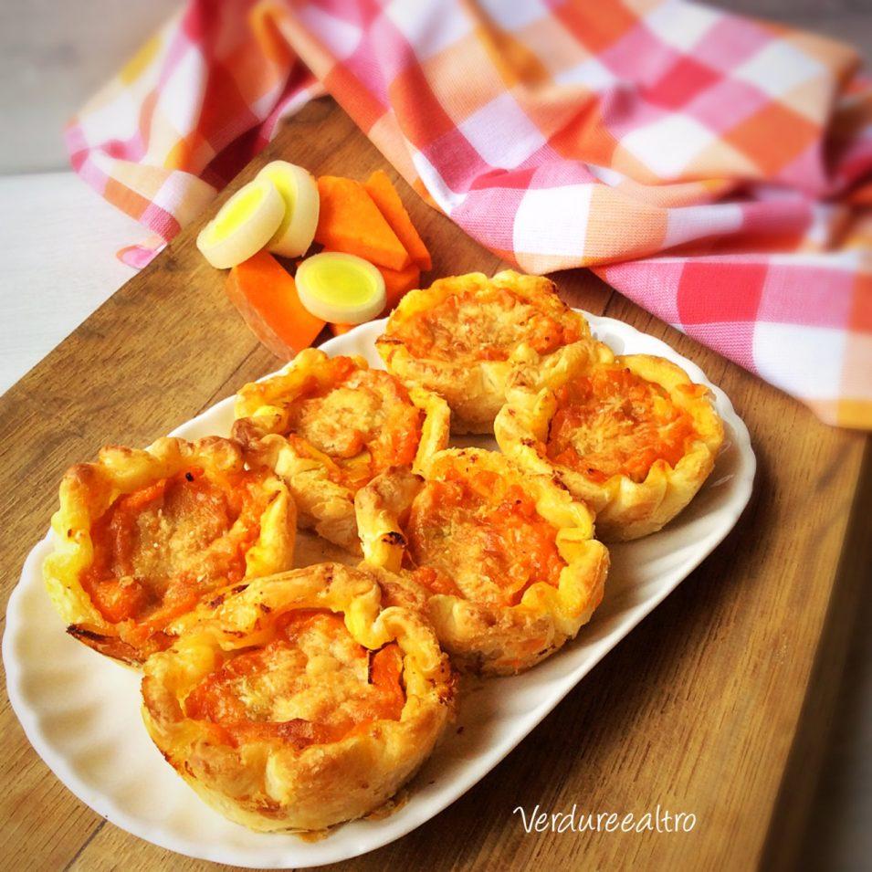 Cestini di Pasta Sfoglia con Zucca porri e pecorino
