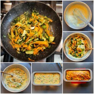 Plum-cake salato con verdure e Fontina