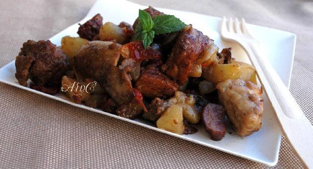 Arista con patate rosse e aceto balsamico