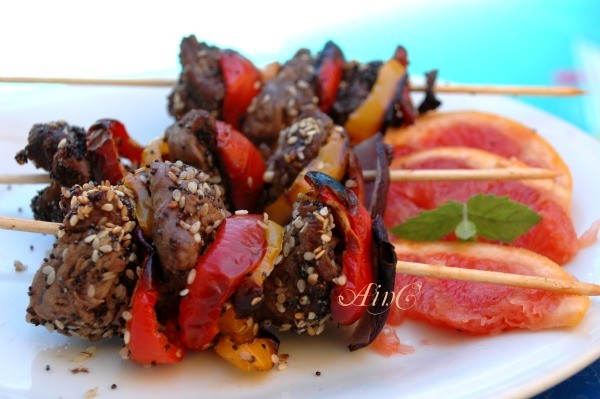 Spiedini di carne e peperoni