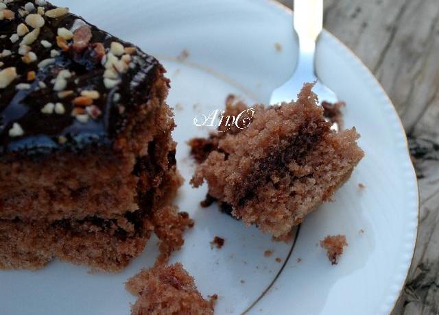 Torta alla nutella nocciole e glassa al cioccolato