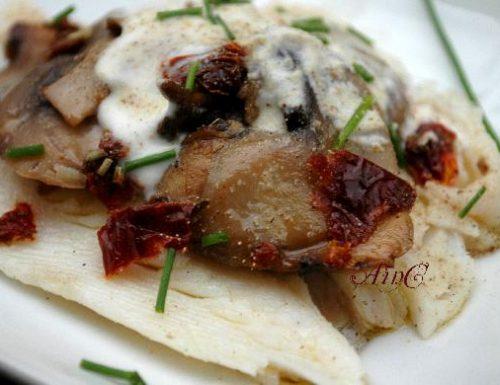 Filetto di pesce con funghi e crema light