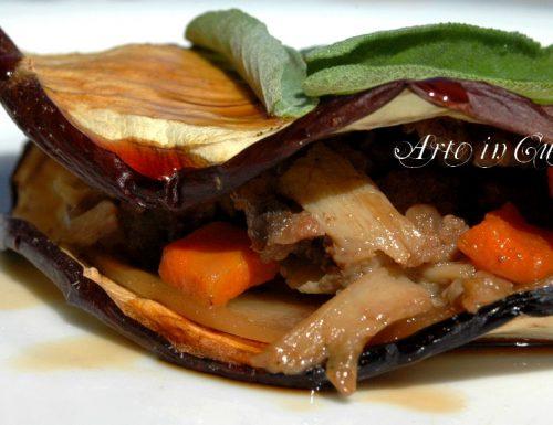 Melanzane al forno e funghi piatto light